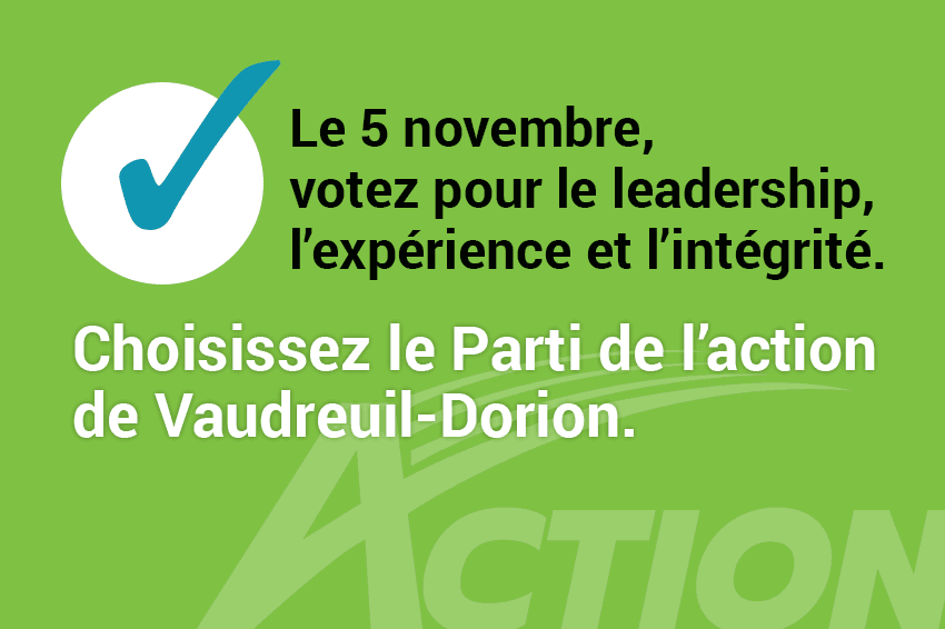 Le 5 novembre, à Vaudreuil-Dorion, on vote!